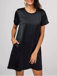 side pockets short sleeve t shirt dress black casual dresses xl