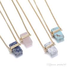 crystal stones necklace images Wholesale natural stone pendants rectangle crystal necklaces for jpg