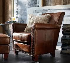 Leather Studded Armchair Irving Leather Armchair Pottery Barn
