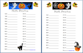 free halloween math practice pages multiplication division and