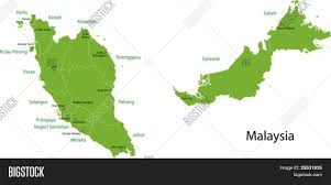 Malaysia On A Map Malaysia Map With Provinces And Capital Cities Stock Vector