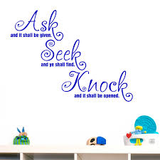 ask seek knock quote wall sticker world stickers ask seek knock quote wall sticker decal