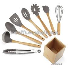 ustensile de cuisine en silicone bambou bois poignée antiadhésive ustensiles de cuisine en