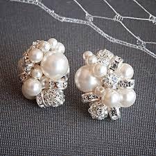 bridesmaid pearl earrings pearl cluster bridal earrings rhinestone and pearl stud