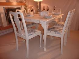 shab chic extendable dining table with 6 chairs painted vintage