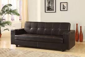 acme 57089 sanya brown pu storage sofa bed futon sleeper cup holders