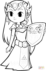 toon princess zelda coloring free printable coloring pages