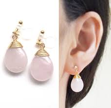 clip on earings quartz invisible clip on earrings pink gemstone clip on