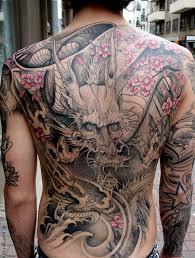 tattoo back japanese japanese grey phoenix and flowers tattoos on back