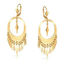 Chandelier Gold Earrings Oval Geometric Leaf Yellow Gold Filled Dangle Leverback Earrings