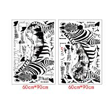 fundecor 2 zebra sketch animals wall stickers for kids rooms home