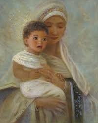 madonna and child jesus painted by nancy lee moran in 2005 10 x 8