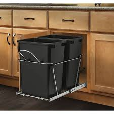 shop rev a shelf 35 quart plastic pull out trash can at lowes com