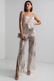 jumpsuit in thin sequin semi sheer jumpsuit in gold