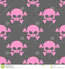 halloween background pink pink skull on a grey background seamless pattern head of skele