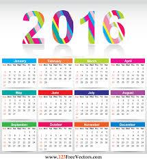 free downloadable calendar template free printable colorful calendar 2016 vector template