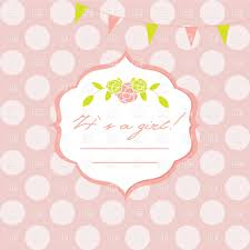 baby shower card with frame floral wreath and polka dot pink