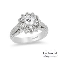 snowflake engagement ring enchanted disney elsa 0 95 ct t w diamond snowflake frame