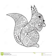 zentangle the baikal squirrel for anti stress coloring stock