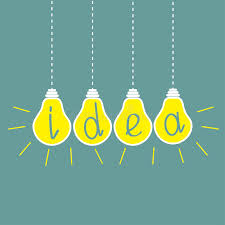 four hanging yellow light bulbs idea concept stock image image