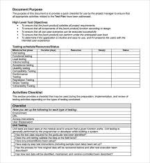 template for test plan test plan template 11 free word pdf