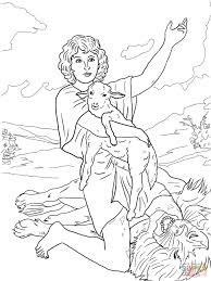david gives praise to god after killing a lion coloring page