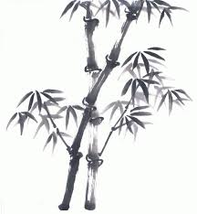 classic black ink bamboo tree design