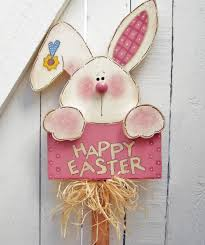 Easter Bunny Outdoor Decorations by Happy Easter Bunny Yard Sign Wood Bunny Rabbit Yard Stake