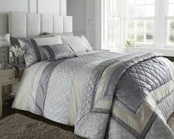 Grey Quilted Bedspread Double Bed Silver Grey Cream Duvet Cover Bedding Bed Set Durban