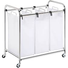 Laundry Hamper 3 Compartment by Honey Can Do Heavy Duty 3 Section Sorter Chrome Walmart Com