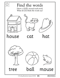 free printable kindergarten worksheets word lists and activities