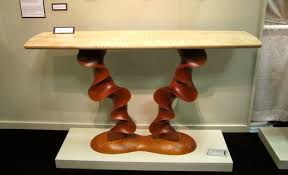 Modern Custom Furniture by Custom Contemporary Console Table Carved Cherry With Curly Maple