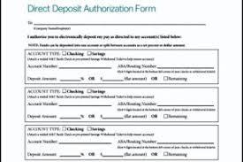 sample direct deposit authorization form free templatezet