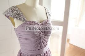 beaded cap sleeves purple long chiffon bridesmaid dress