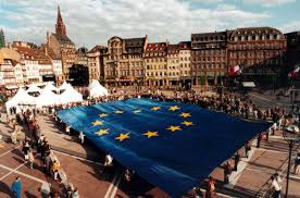American Flag With 13 Stars In A Circle Blue And 12 Stars The European Flag European Parliamentary