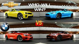 youtube lexus vs bmw forza 5 bmw m6 vs camaro zl1 vs jaguar xkr s vs aston martin