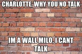 Brick Wall Meme - charlotte why you no talk im a wall milo i cant talk like
