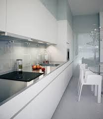 narrow kitchen alexander lysak visualization sleek narrow kitchen in white with