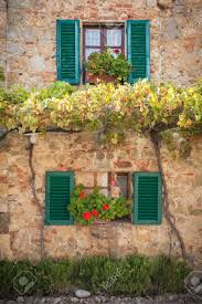 The Tuscan House Windows And Doors In The Tuscan Town Stock Photo Picture And