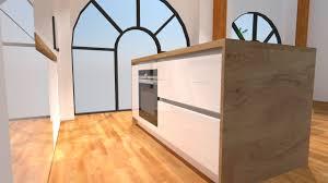 cuisine plan de travail bois cuisine blanc brillant avec îlot plan de travail bois