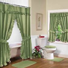 Bathroom Window Curtain Ideas Decorating Green Shower Curtain With Valance And Decorative Toilet Seat