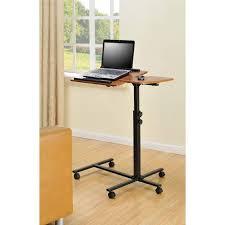 Movable Computer Desk Laptop Stand Wheeled Desk Cart Adjustable Rolling Notebook Table