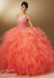 quinceanera dresses coral vizcaya 89042 v neck quinceanera dress novelty