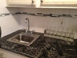 Kitchen Sinks With Backsplash White Subway Tile With Glass Accent Backsplash Our House