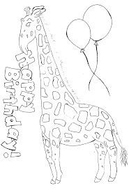 happy giraffe coloring sheet birthday