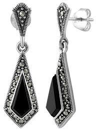 black onyx earrings sterling silver kite black onyx marcasite earrings