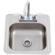 Faucet Sink Kitchen Lion 15 X 15 Outdoor Rated Stainless Steel Sink With Cold