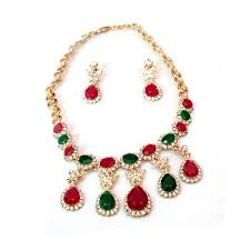gold stone necklace sets images 1k gold plated ruby stone necklace set with gift box for women