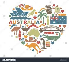 traditional symbols nature culture australia shape stock vector