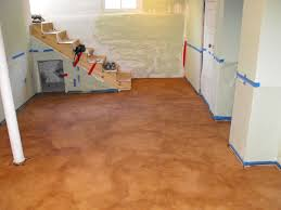 painting unfinished epoxy basement floor with brown color decor
